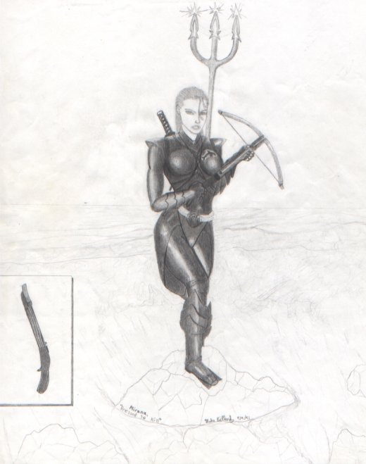 Mirana McCloud, an amphibious elf equally at home above and below the water. She's wearing orca-hide armor and sporting a nasty crossbow and magical trident. In my undergrad days, Mirana was one of my first D&D characters for a campaign ran by James Jacobs (yes, the Editor-in-chief of Pathfinder).